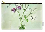 Watercolor Sweet Pea Flower Botanical Carry-all Pouch