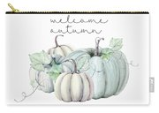 Welcome Autumn Blue Pumpkin Carry-all Pouch