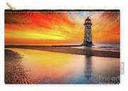 Welsh Lighthouse Sunset Carry-all Pouch by Adrian Evans