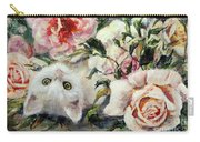 White Cat And Pink Roses Carry-all Pouch by Ryn Shell