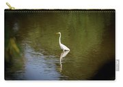 White Egret In Water Carry-all Pouch