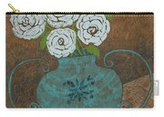 White Roses In Teal Vase Carry-all Pouch