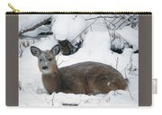 Whitetail Deer In Snow 120502 Carry-all Pouch by Rick Veldman