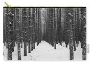 Winter Forest In Black And White Carry-all Pouch