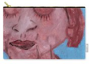Woman And Blue Background Carry-all Pouch