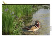 Wood Duck And Iris Carry-all Pouch by Patti Deters