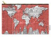 World Map Landmarks Skyline 3 Carry-all Pouch