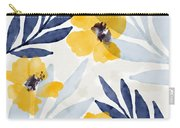 Yellow And Navy 1- Floral Art By Linda Woods Carry-all Pouch