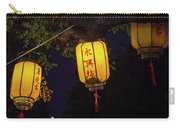 Yellow Chinese Lanterns On Wire Illuminated At Night  Carry-all Pouch