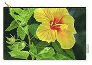 Yellow Hibiscus With Bright Green Leaves Carry-all Pouch