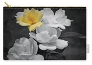 Yellow Rose Cluster Partial Color Carry-all Pouch