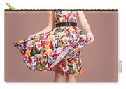 Young Beautiful Dancer Posing On Tan Background Carry-all Pouch