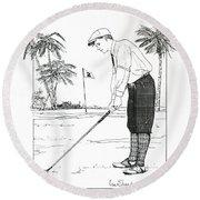 1920's Vintage Golfer Round Beach Towel