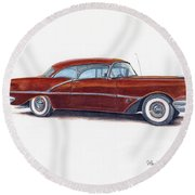 1956 Oldsmobile Super 88 Round Beach Towel