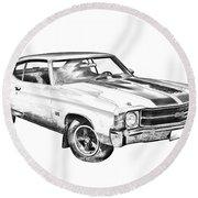 1971 Chevrolet Chevelle Ss Illustration Round Beach Towel