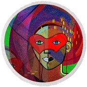 394 - Challenging Woman With Mask Round Beach Towel