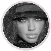 # 5 Adriana Lima Portrait Round Beach Towel