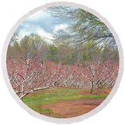 A Peach Orchard   Round Beach Towel