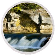 A Quiet Place  Waterfall Round Beach Towel