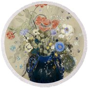 A Vase Of Blue Flowers Round Beach Towel