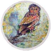 Acrylic Painting Fuzzy Yellow Owl  Round Beach Towel