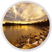 Androscoggin River Between Lewiston And Auburn Round Beach Towel
