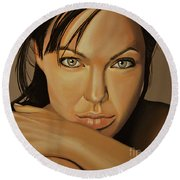 Angelina Jolie 2 Round Beach Towel