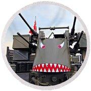 Anti-aircraft Guns Round Beach Towel