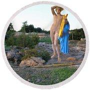 Apollo Circular Sacred Building Round Beach Towel