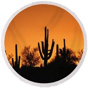 Arizona Sagurao Sunset Round Beach Towel