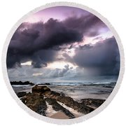 Around The World On A Boat Rock Round Beach Towel
