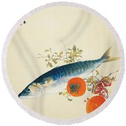 Autumn Fattens Fish And Ripens Wild Fruits Round Beach Towel
