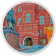 Back Of Russian Historical Museum In Moscow-russia Round Beach Towel