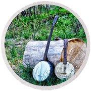 Banjos At The Woodpile Round Beach Towel