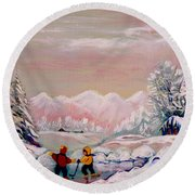 Beautiful Winter Fairytale Round Beach Towel