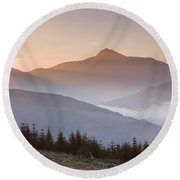 Ben Lomond Sunrise Round Beach Towel