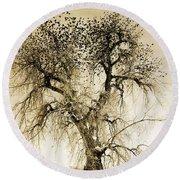 Bird Tree Fine Art  Mono Tone And Textured Round Beach Towel
