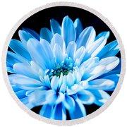 Blue Chrysanthemum Round Beach Towel