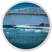Blue Water Bridges With Reflection And Ice Flow Round Beach Towel