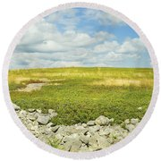 Blueberry Field With Blue Sky And Clouds In Maine Round Beach Towel