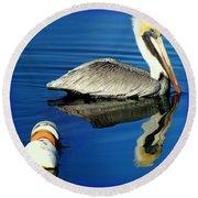Blues Pelican Round Beach Towel