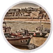 Boats At Broadstairs Round Beach Towel