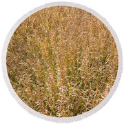 Brown Grass Texture Round Beach Towel