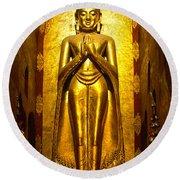 Buddha Inside Ananda Temple - Bagan - Myanmar Round Beach Towel