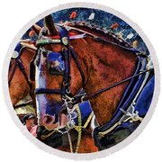 Budwieser Clydesdale Round Beach Towel