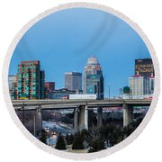 Busy City Round Beach Towel