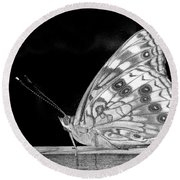Butterfly In Black And White Round Beach Towel