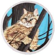 Cat On A Tree Round Beach Towel