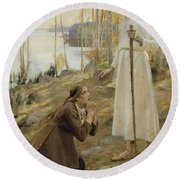 Christ And Mary Magdalene A Finnish Legend Round Beach Towel