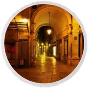 Clock Tower Venice Italy And The Path To Merceria Round Beach Towel